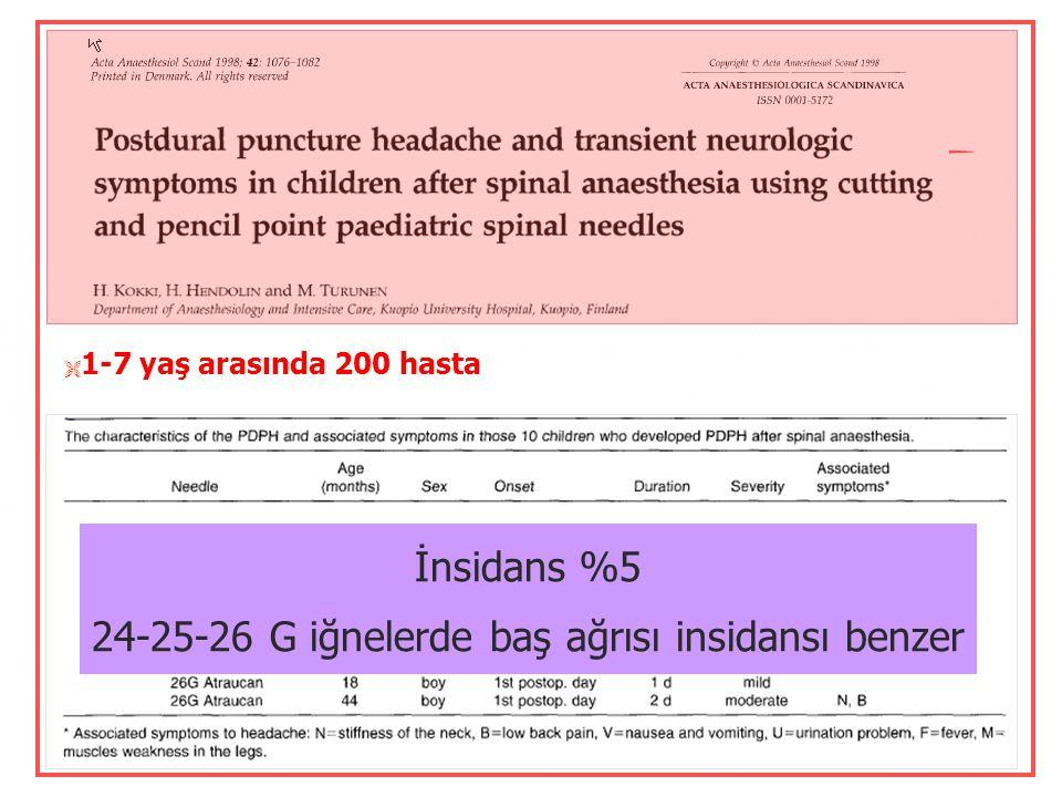  3-18 Y, 105 dural girişim  GA altında girişim  22 G keskin uçlu-spinal iğne  İnsidans: 7/105  Kız / Erkek oranı: 2/1