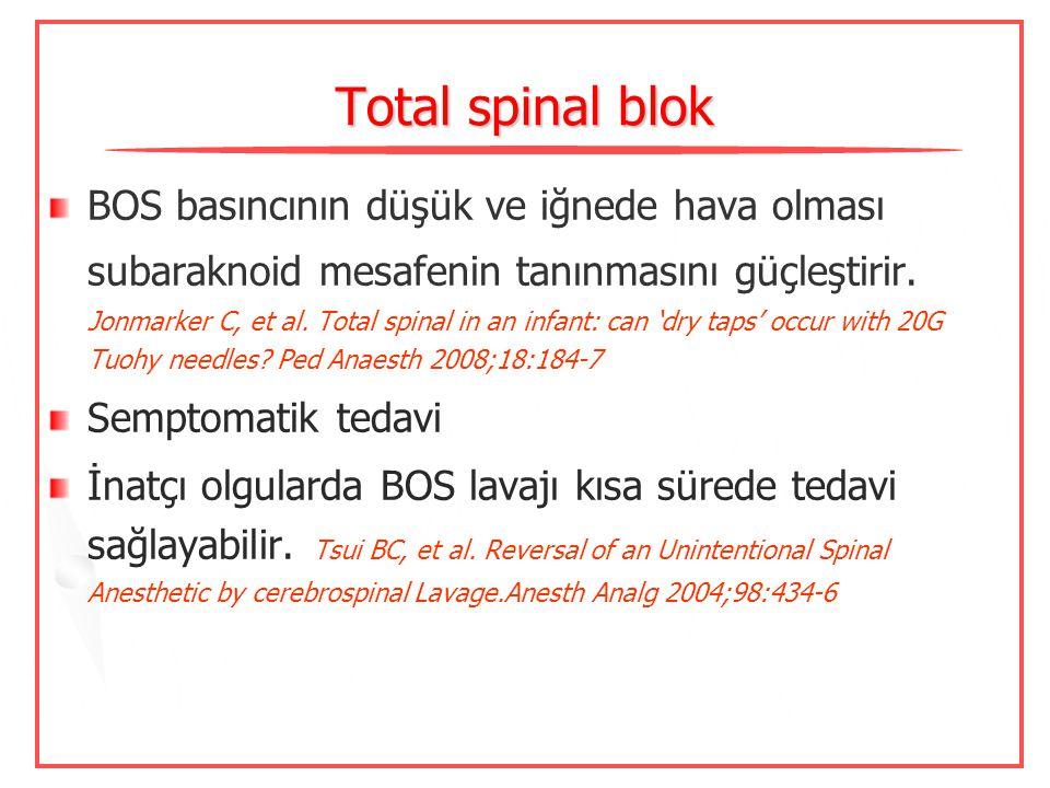 Epidural alanın tanınmasında direnç kaybı-hava ? Bebeklerde 1 mL bile fatal olabilir  Guinard JP, Borboen M. Probable venous embolism during epidural