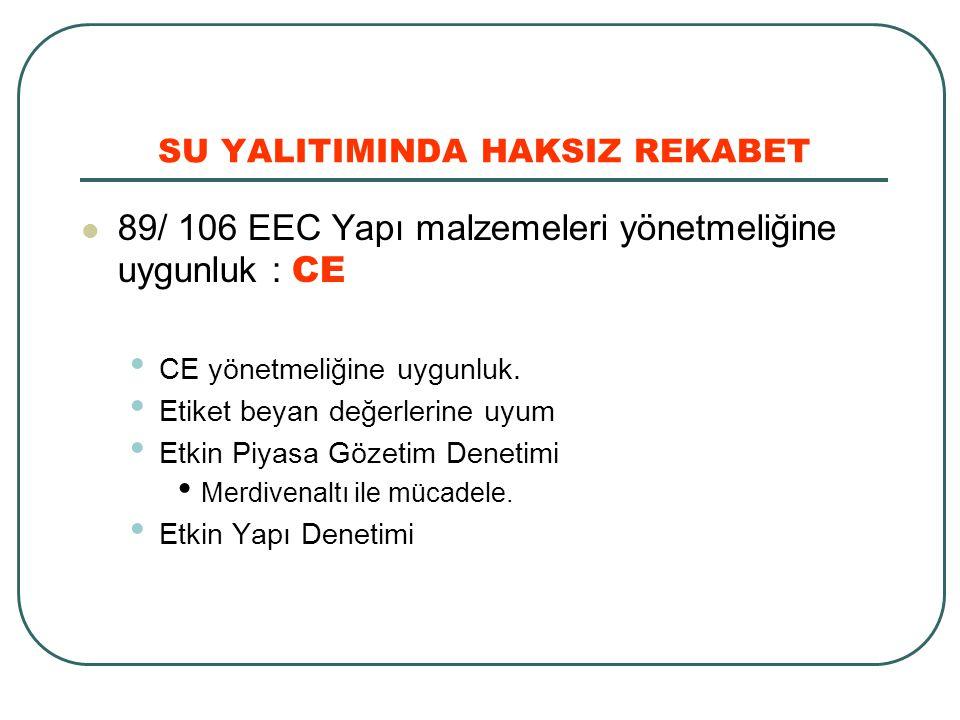 SU YALITIMINDA HAKSIZ REKABET 89/ 106 EEC Yapı malzemeleri yönetmeliğine uygunluk : CE CE yönetmeliğine uygunluk. Etiket beyan değerlerine uyum Etkin