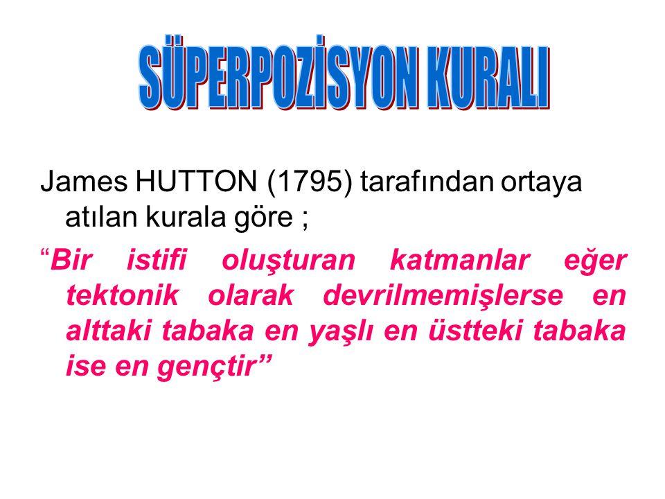 """James HUTTON (1795) tarafından ortaya atılan kurala göre ; """"Bir istifi oluşturan katmanlar eğer tektonik olarak devrilmemişlerse en alttaki tabaka en"""