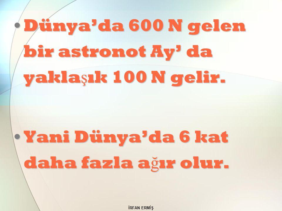 İRFAN ERMİŞ Dünya'da 600 N gelen bir astronot Ay' da yakla ş ık 100 N gelir.Dünya'da 600 N gelen bir astronot Ay' da yakla ş ık 100 N gelir. Yani Düny