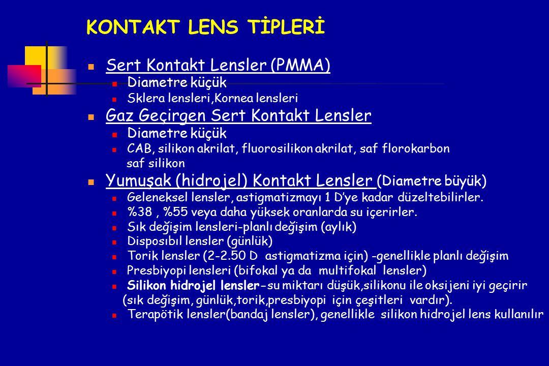 KONTAKT LENS TİPLERİ Sert Kontakt Lensler (PMMA) Diametre küçük Sklera lensleri,Kornea lensleri Gaz Geçirgen Sert Kontakt Lensler Diametre küçük CAB,