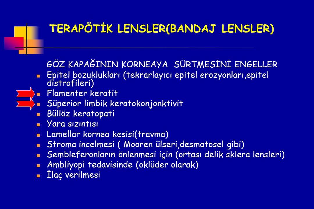 TERAPÖTİK LENSLER(BANDAJ LENSLER) GÖZ KAPAĞININ KORNEAYA SÜRTMESİNİ ENGELLER Epitel bozuklukları (tekrarlayıcı epitel erozyonları,epitel distrofileri)