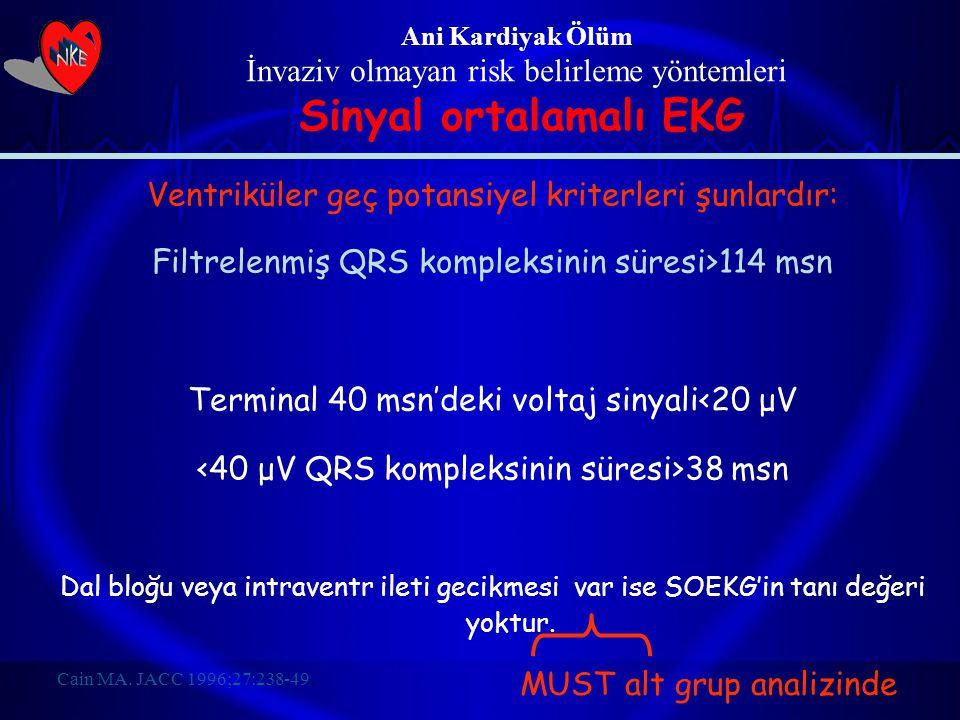 Ani Kardiyak Ölüm İnvaziv olmayan risk belirleme yöntemleri Sinyal ortalamalı EKG Ventriküler geç potansiyel kriterleri şunlardır: Filtrelenmiş QRS ko