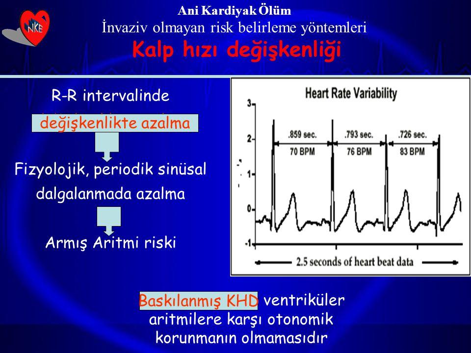 Ani Kardiyak Ölüm İnvaziv olmayan risk belirleme yöntemleri Kalp hızı değişkenliği Baskılanmış KHD ventriküler aritmilere karşı otonomik korunmanın ol