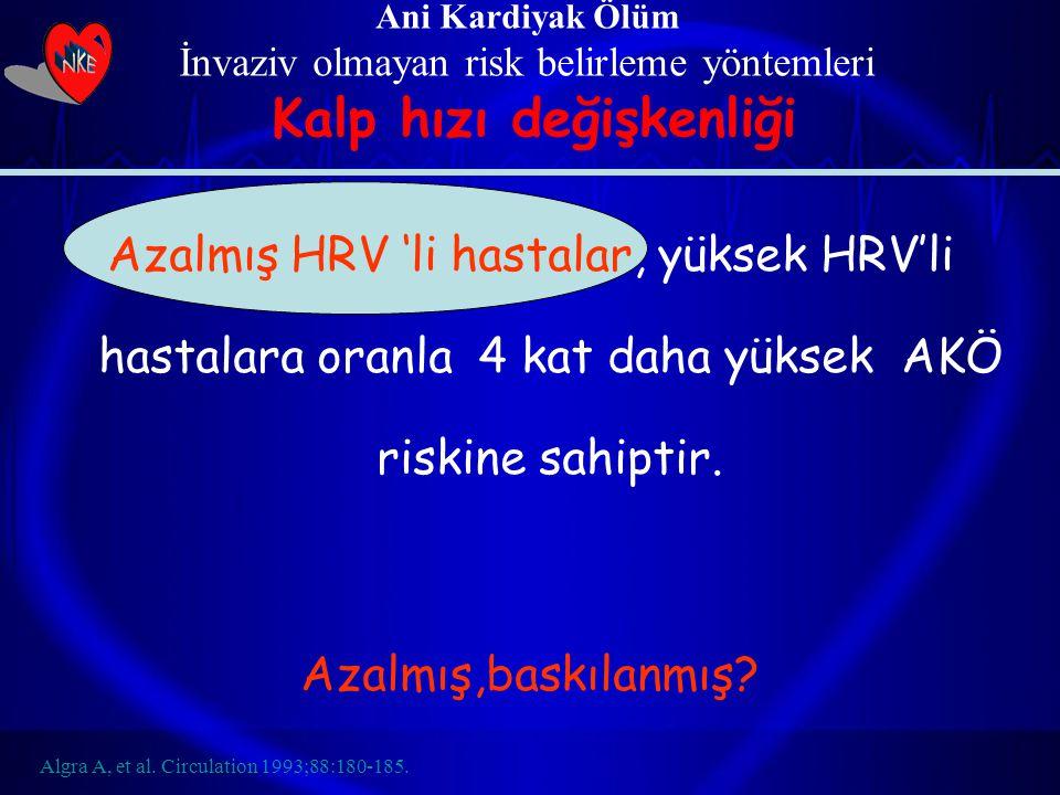 Azalmış HRV 'li hastalar, yüksek HRV'li hastalara oranla 4 kat daha yüksek AKÖ riskine sahiptir. Azalmış,baskılanmış? Ani Kardiyak Ölüm İnvaziv olmaya