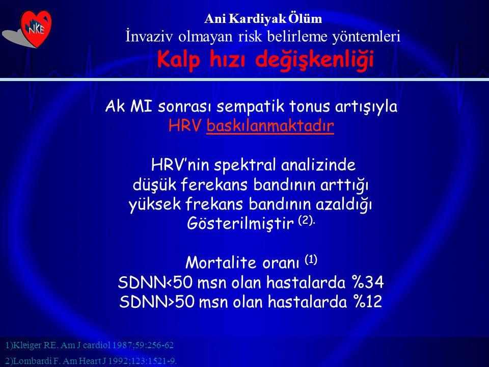 Ani Kardiyak Ölüm İnvaziv olmayan risk belirleme yöntemleri Kalp hızı değişkenliği Ak MI sonrası sempatik tonus artışıyla HRV baskılanmaktadır HRV'nin