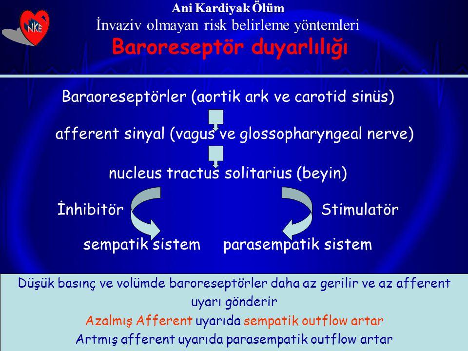 Ani Kardiyak Ölüm İnvaziv olmayan risk belirleme yöntemleri Baroreseptör duyarlılığı Baraoreseptörler (aortik ark ve carotid sinüs) afferent sinyal (v