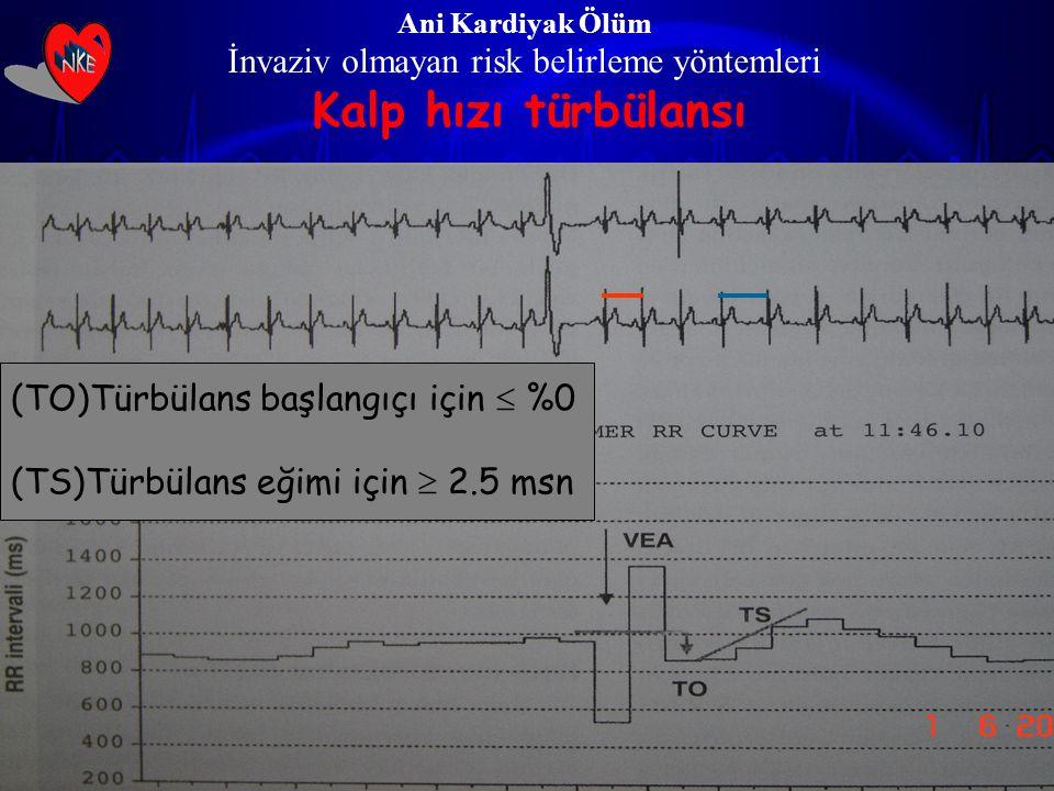 Ani Kardiyak Ölüm İnvaziv olmayan risk belirleme yöntemleri Kalp hızı türbülansı (TO)Türbülans başlangıçı için  %0 (TS)Türbülans eğimi için  2.5 msn