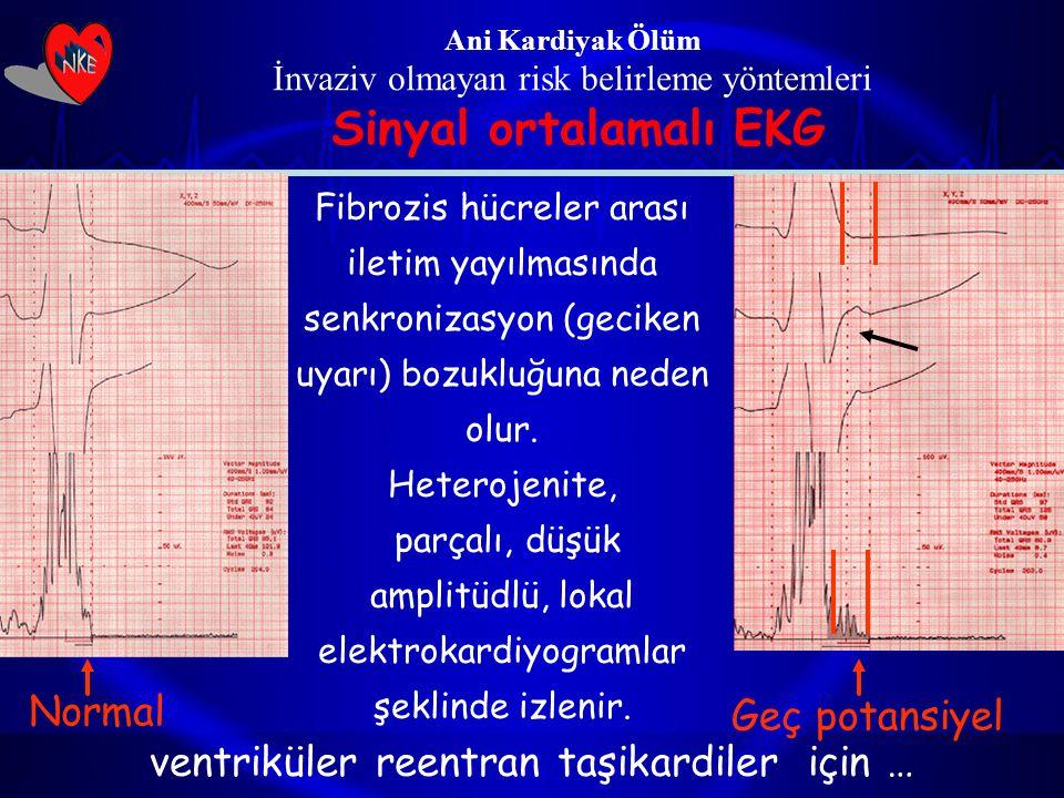 Ani Kardiyak Ölüm İnvaziv olmayan risk belirleme yöntemleri Sinyal ortalamalı EKG Normal Geç potansiyel Fibrozis hücreler arası iletim yayılmasında se