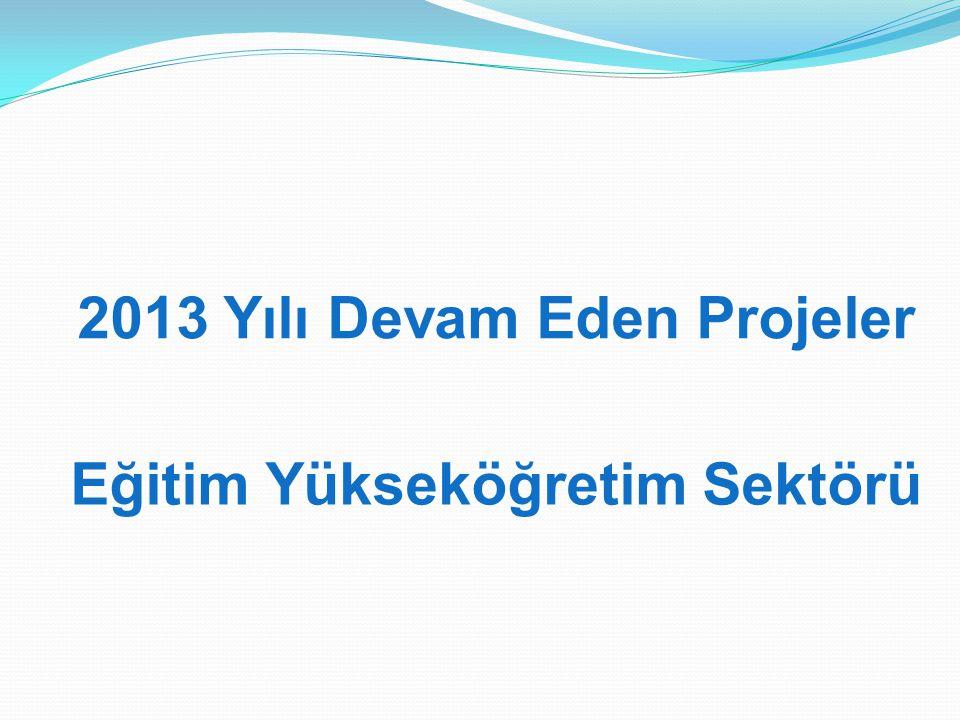 2013 Yılı Devam Eden Projeler Eğitim Yükseköğretim Sektörü
