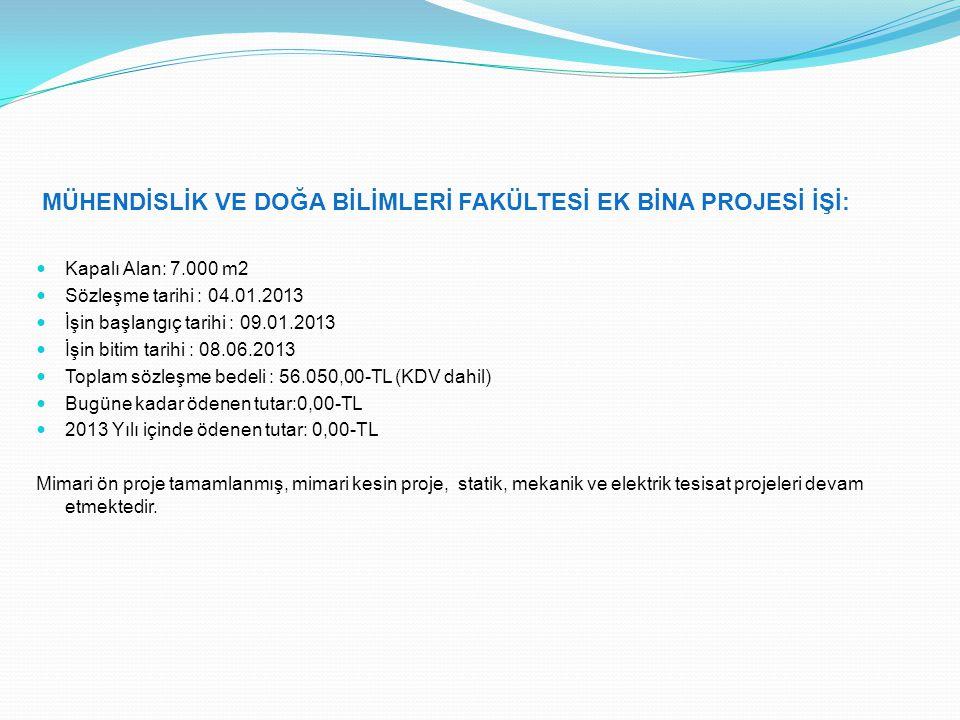 TOKAT SAĞLIK YÜKSEKOKULU BİNASI PROJESİ İŞİ: Kapalı Alan: 11.000 m2 Sözleşme tarihi : 23.05.2013 İşin başlangıç tarihi : 27.05.2013 İşin bitim tarihi : 23.10.2013 Toplam sözleşme bedeli : 77.880,00-TL (KDV dahil) Bugüne kadar ödenen tutar:0,00-TL 2013 Yılı içinde ödenen tutar: 0,00-TL 27.05.2013 tarihinde iş yeri teslimi yapılarak işe başlanmıştır.