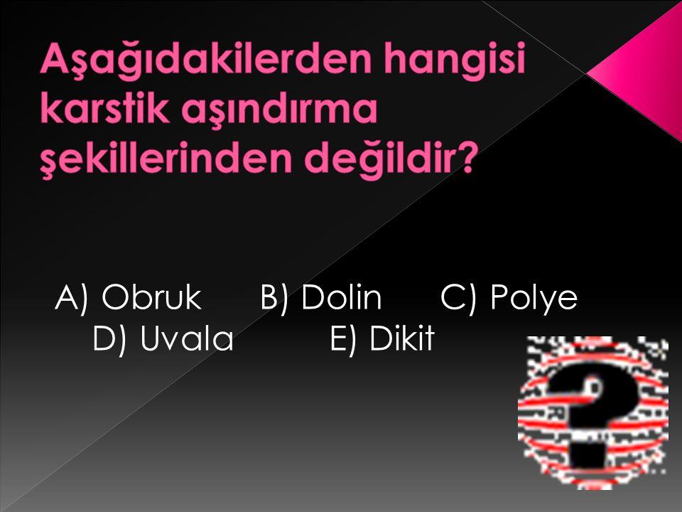 A) Obruk B) Dolin C) Polye D) Uvala E) Dikit