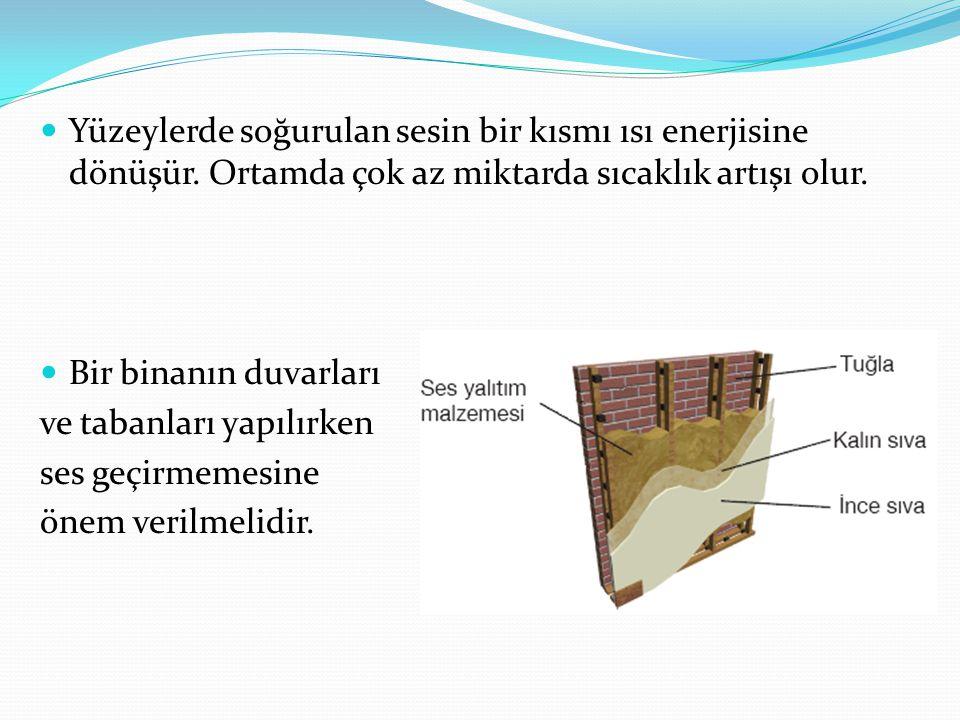Yüzeylerde soğurulan sesin bir kısmı ısı enerjisine dönüşür. Ortamda çok az miktarda sıcaklık artışı olur. Bir binanın duvarları ve tabanları yapılırk