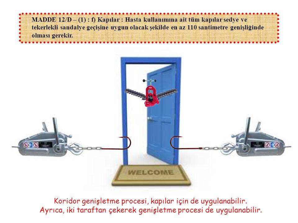 MADDE 12/D – (1) : f) Kapılar : Hasta kullanımına ait tüm kapılar sedye ve tekerlekli sandalye geçişine uygun olacak şekilde en az 110 santimetre geni