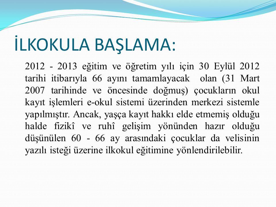İLKOKULA BAŞLAMA: 2012 - 2013 eğitim ve öğretim yılı için 30 Eylül 2012 tarihi itibarıyla 66 ayını tamamlayacak olan (31 Mart 2007 tarihinde ve öncesi