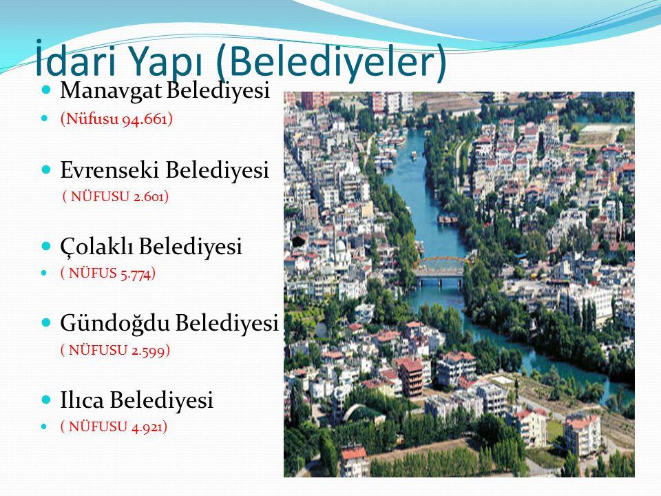 İdari Yapı (Belediyeler) Manavgat Belediyesi (Nüfusu 94.661) Evrenseki Belediyesi ( NÜFUSU 2.601) Çolaklı Belediyesi ( NÜFUS 5.774) Gündoğdu Belediyes