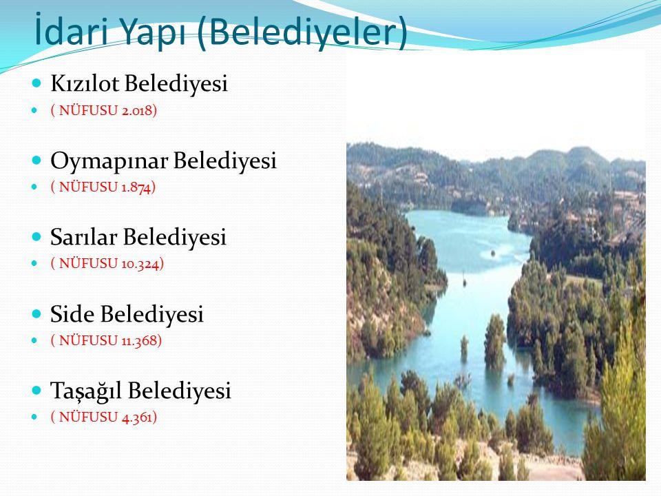 İdari Yapı (Belediyeler) Kızılot Belediyesi ( NÜFUSU 2.018) Oymapınar Belediyesi ( NÜFUSU 1.874) Sarılar Belediyesi ( NÜFUSU 10.324) Side Belediyesi (
