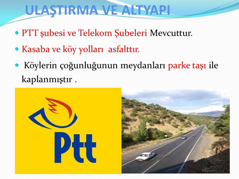 ULAŞTIRMA VE ALTYAPI PTT şubesi ve Telekom Şubeleri Mevcuttur. Kasaba ve köy yolları asfalttır. Köylerin çoğunluğunun meydanları parke taşı ile kaplan