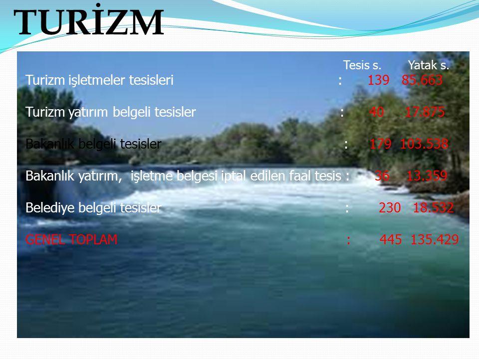 TURİZM Tesis s. Yatak s. Turizm işletmeler tesisleri : 139 85.663 Turizm yatırım belgeli tesisler : 40 17.875 Bakanlık belgeli tesisler : 179 103.538