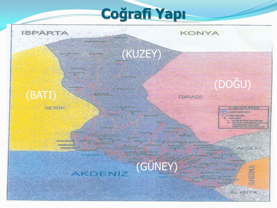 Coğrafi Yapı alınan göçlerle ilçe nüfusu sürekli artmaktadır. İl/ilçe merkezleri Belde/köyler Toplam Antalya Toplam Erkek Kadın Toplam Erkek Kadın Top