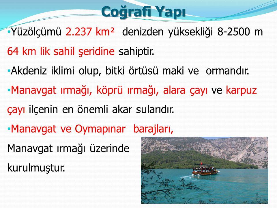 Coğrafi Yapı Yüzölçümü 2.237 km² denizden yüksekliği 8-2500 m 64 km lik sahil şeridine sahiptir. Akdeniz iklimi olup, bitki örtüsü maki ve ormandır. M