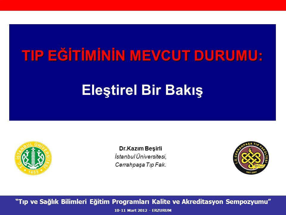 """Dr.Kazım Beşirli İstanbul Üniversitesi, Cerrahpaşa Tıp Fak. TIP EĞİTİMİNİN MEVCUT DURUMU: Eleştirel Bir Bakış """"Tıp ve Sağlık Bilimleri Eğitim Programl"""