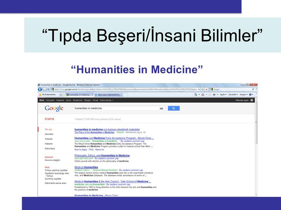 Tıpda Beşeri/İnsani Bilimler Humanities in Medicine