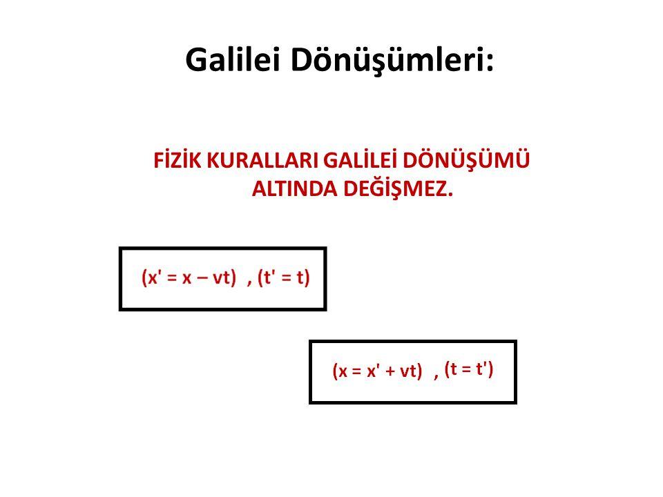 Galilei Dönüşümleri: FİZİK KURALLARI GALİLEİ DÖNÜŞÜMÜ ALTINDA DEĞİŞMEZ.