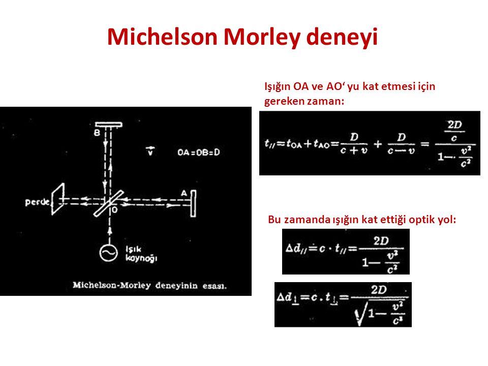 Michelson Morley deneyi Işığın OA ve AO' yu kat etmesi için gereken zaman: Bu zamanda ışığın kat ettiği optik yol: