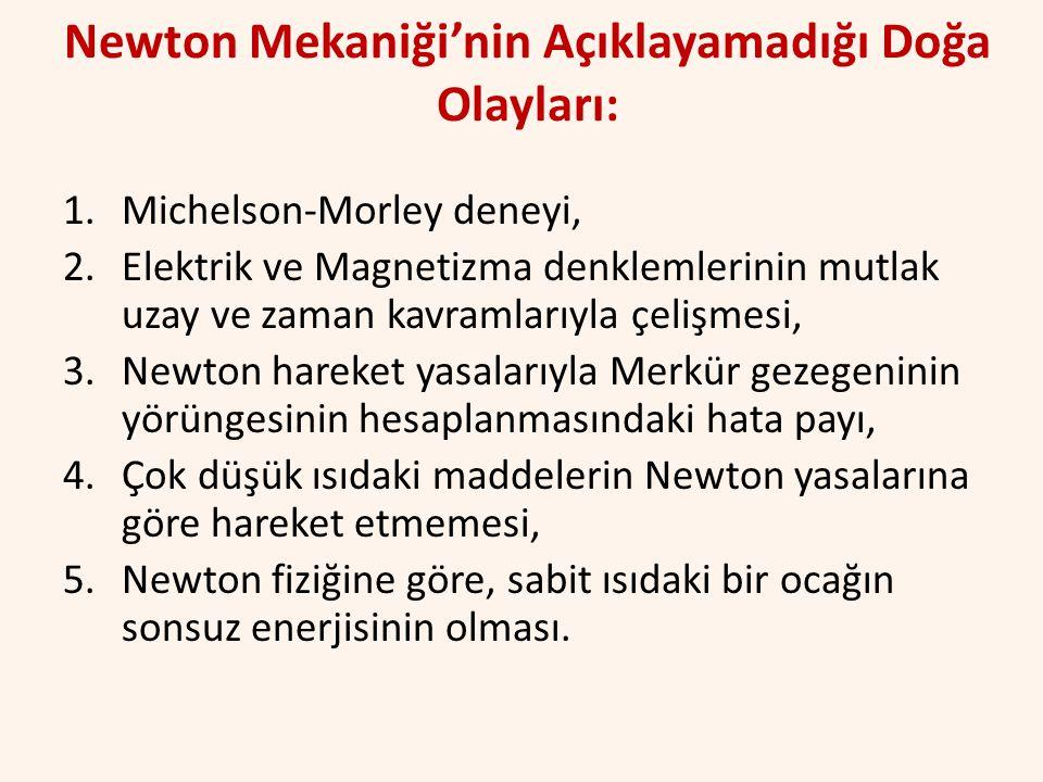 Newton Mekaniği'nin Açıklayamadığı Doğa Olayları: 1.Michelson-Morley deneyi, 2.Elektrik ve Magnetizma denklemlerinin mutlak uzay ve zaman kavramlarıyl