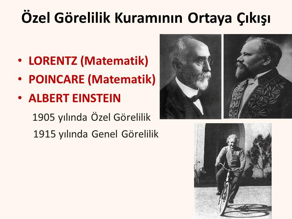 Özel Görelilik Kuramının Ortaya Çıkışı LORENTZ (Matematik) POINCARE (Matematik) ALBERT EINSTEIN 1905 yılında Özel Görelilik 1915 yılında Genel Görelil