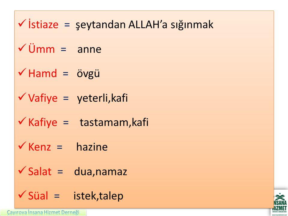 İstiaze = şeytandan ALLAH'a sığınmak Ümm = anne Hamd = övgü Vafiye = yeterli,kafi Kafiye = tastamam,kafi Kenz = hazine Salat = dua,namaz Süal = istek,