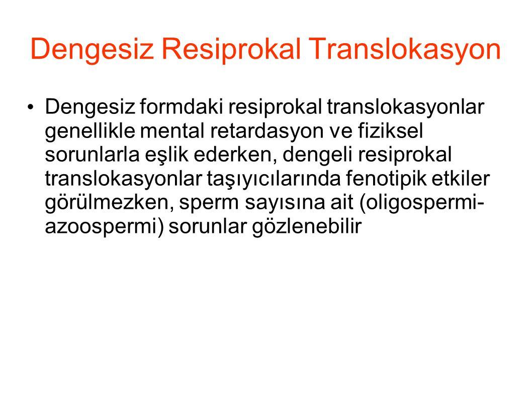Dengesiz Resiprokal Translokasyon Dengesiz formdaki resiprokal translokasyonlar genellikle mental retardasyon ve fiziksel sorunlarla eşlik ederken, de