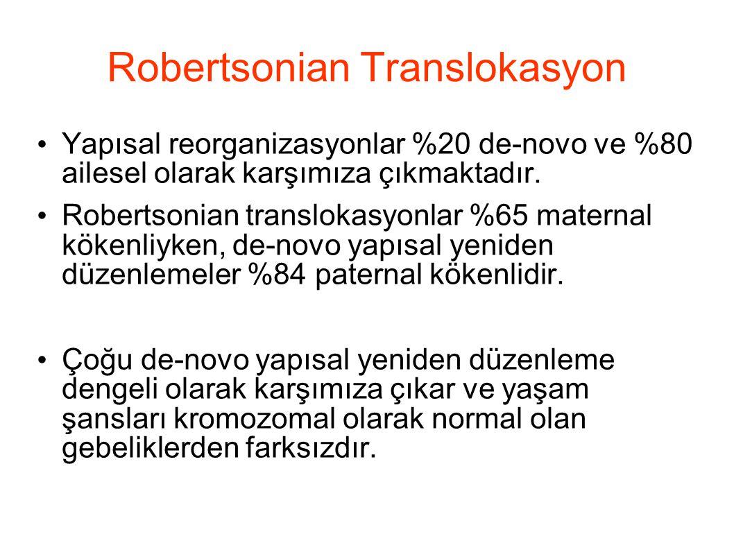 Robertsonian Translokasyon Yapısal reorganizasyonlar %20 de-novo ve %80 ailesel olarak karşımıza çıkmaktadır. Robertsonian translokasyonlar %65 matern