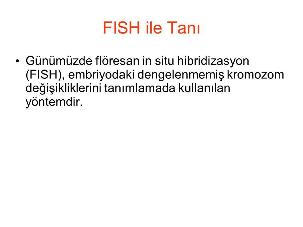 FISH ile Tanı Günümüzde flöresan in situ hibridizasyon (FISH), embriyodaki dengelenmemiş kromozom değişikliklerini tanımlamada kullanılan yöntemdir.