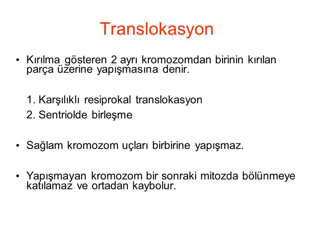 Translokasyon Kırılma gösteren 2 ayrı kromozomdan birinin kırılan parça üzerine yapışmasına denir. 1. Karşılıklı resiprokal translokasyon 2. Sentriold