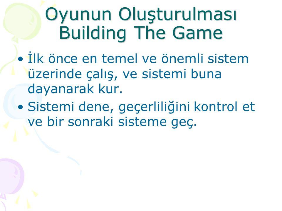 Oyunun Oluşturulması Building The Game İlk önce en temel ve önemli sistem üzerinde çalış, ve sistemi buna dayanarak kur. Sistemi dene, geçerliliğini k