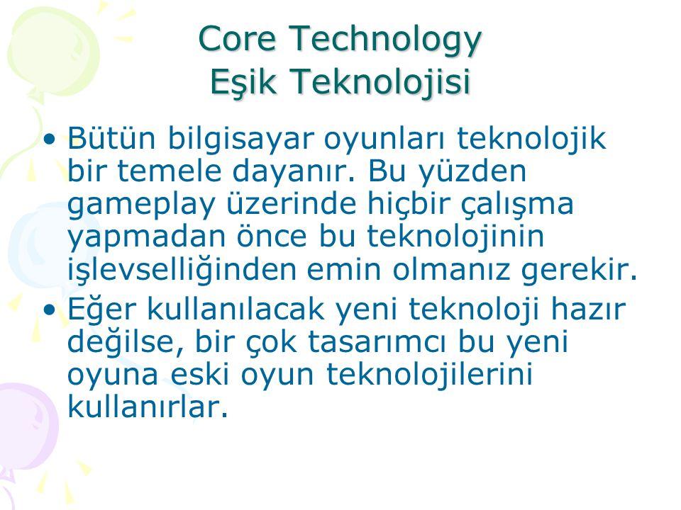 Core Technology Eşik Teknolojisi Bütün bilgisayar oyunları teknolojik bir temele dayanır. Bu yüzden gameplay üzerinde hiçbir çalışma yapmadan önce bu