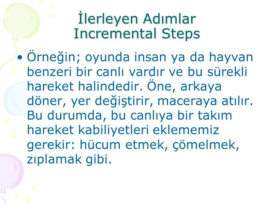 İlerleyen Adımlar Incremental Steps Örneğin; oyunda insan ya da hayvan benzeri bir canlı vardır ve bu sürekli hareket halindedir. Öne, arkaya döner, y