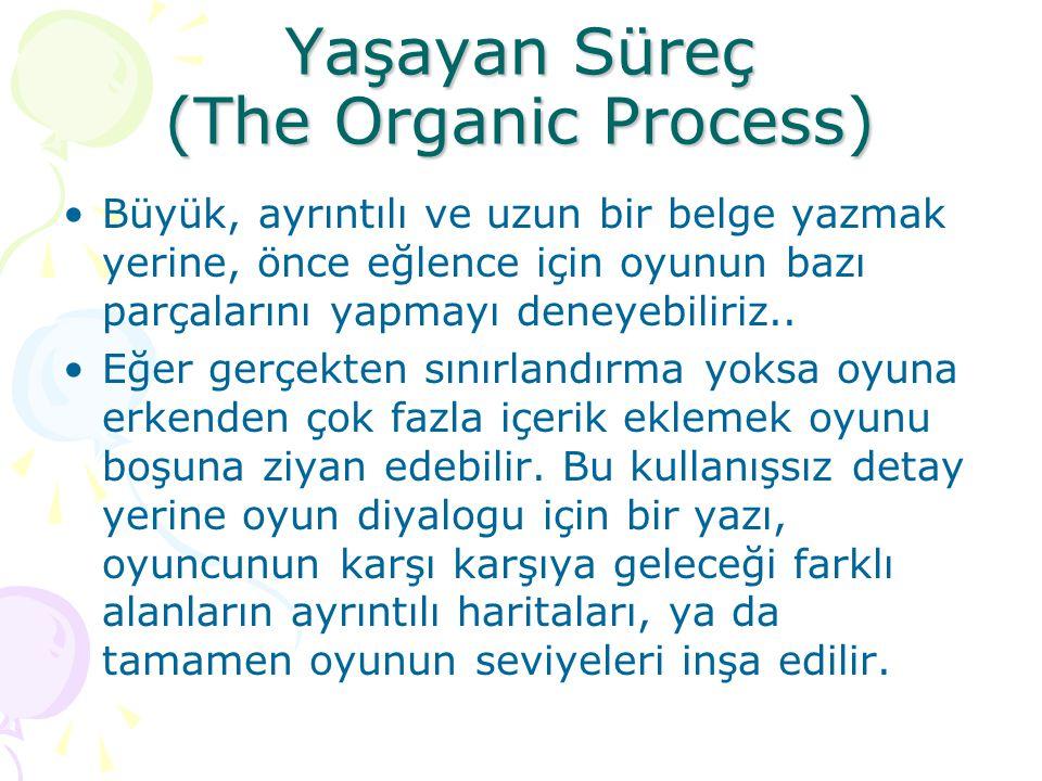 Yaşayan Süreç (The Organic Process) Büyük, ayrıntılı ve uzun bir belge yazmak yerine, önce eğlence için oyunun bazı parçalarını yapmayı deneyebiliriz.
