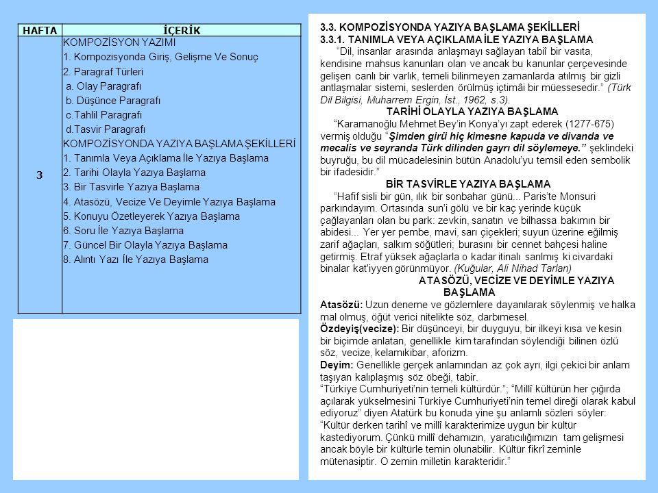3.3.KOMPOZİSYONDA YAZIYA BAŞLAMA ŞEKİLLERİ 3.3.1.