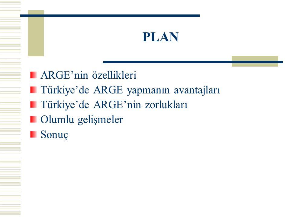 PLAN ARGE'nin özellikleri Türkiye'de ARGE yapmanın avantajları Türkiye'de ARGE'nin zorlukları Olumlu gelişmeler Sonuç