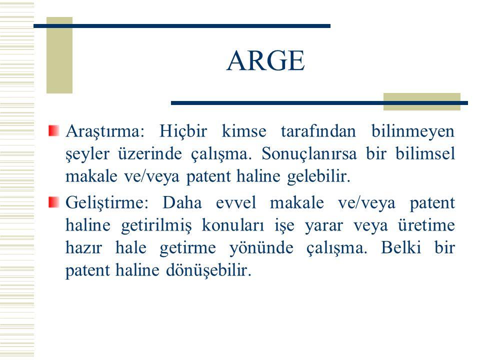 ARGE Araştırma: Hiçbir kimse tarafından bilinmeyen şeyler üzerinde çalışma. Sonuçlanırsa bir bilimsel makale ve/veya patent haline gelebilir. Geliştir