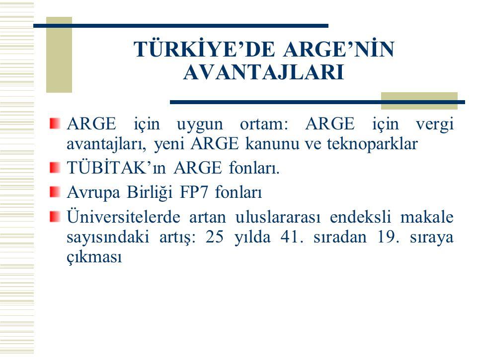 TÜRKİYE'DE ARGE'NİN AVANTAJLARI ARGE için uygun ortam: ARGE için vergi avantajları, yeni ARGE kanunu ve teknoparklar TÜBİTAK'ın ARGE fonları. Avrupa B