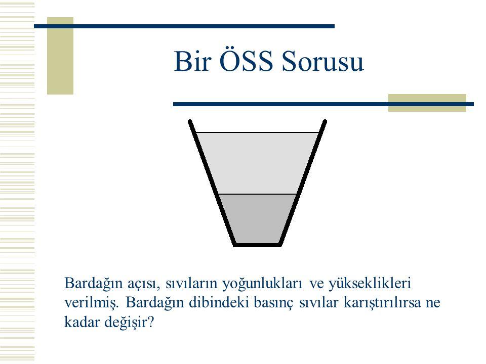 Bir ÖSS Sorusu Bardağın açısı, sıvıların yoğunlukları ve yükseklikleri verilmiş. Bardağın dibindeki basınç sıvılar karıştırılırsa ne kadar değişir?