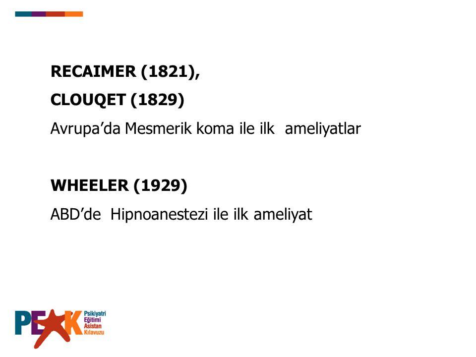 RECAIMER (1821), CLOUQET (1829) Avrupa'da Mesmerik koma ile ilk ameliyatlar WHEELER (1929) ABD'de Hipnoanestezi ile ilk ameliyat