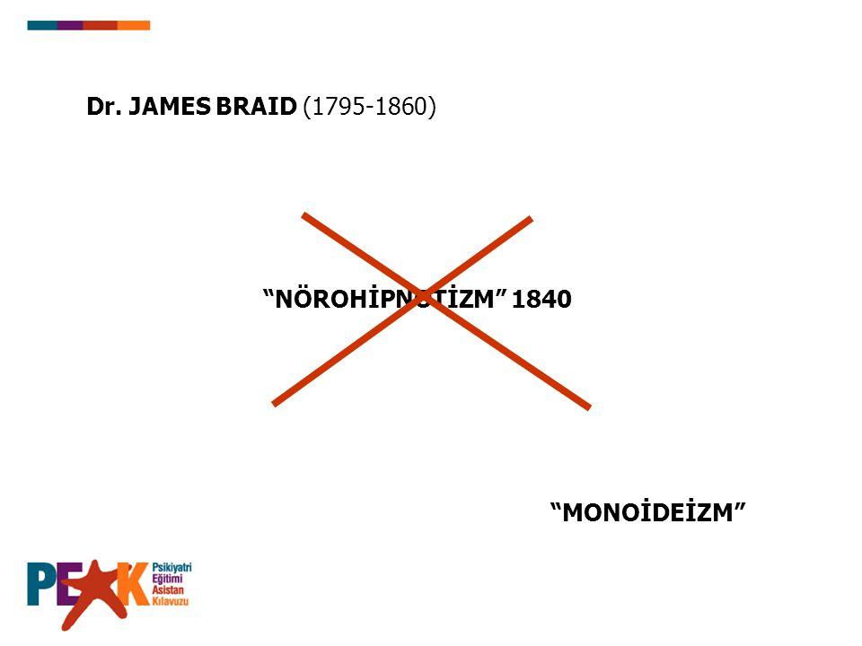 """Dr. JAMES BRAID (1795-1860) """"NÖROHİPNOTİZM"""" 1840 """"MONOİDEİZM"""""""