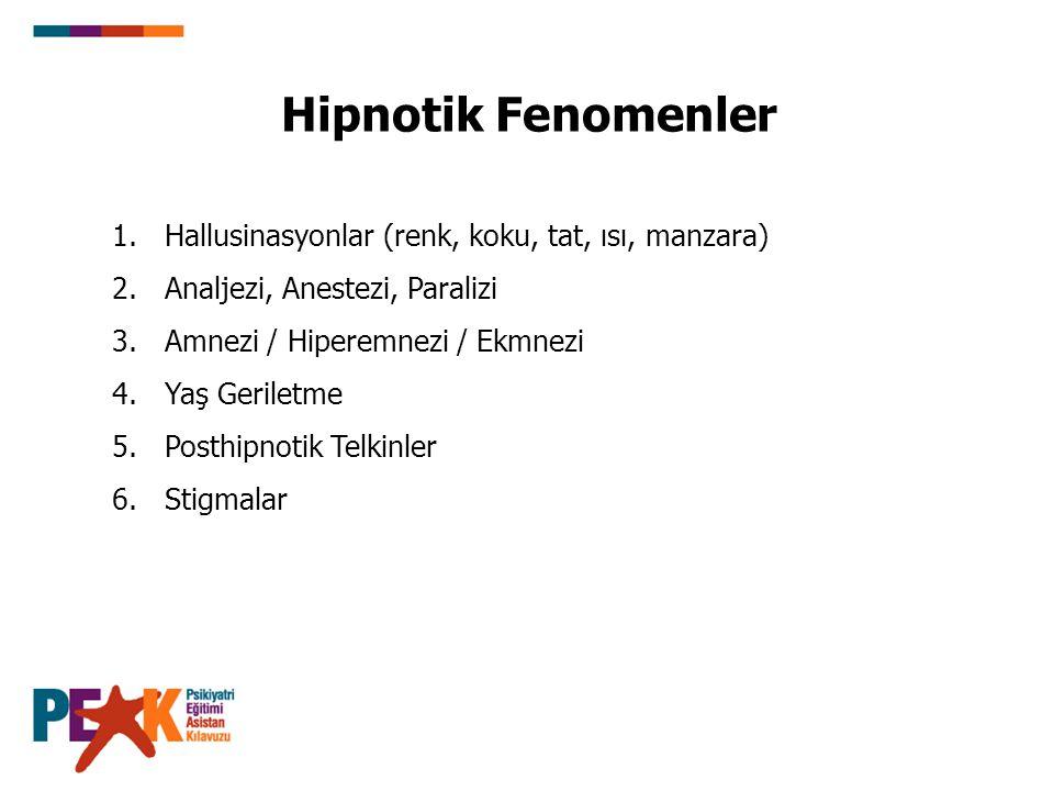 Hipnotik Fenomenler 1.Hallusinasyonlar (renk, koku, tat, ısı, manzara) 2.Analjezi, Anestezi, Paralizi 3.Amnezi / Hiperemnezi / Ekmnezi 4.Yaş Geriletme