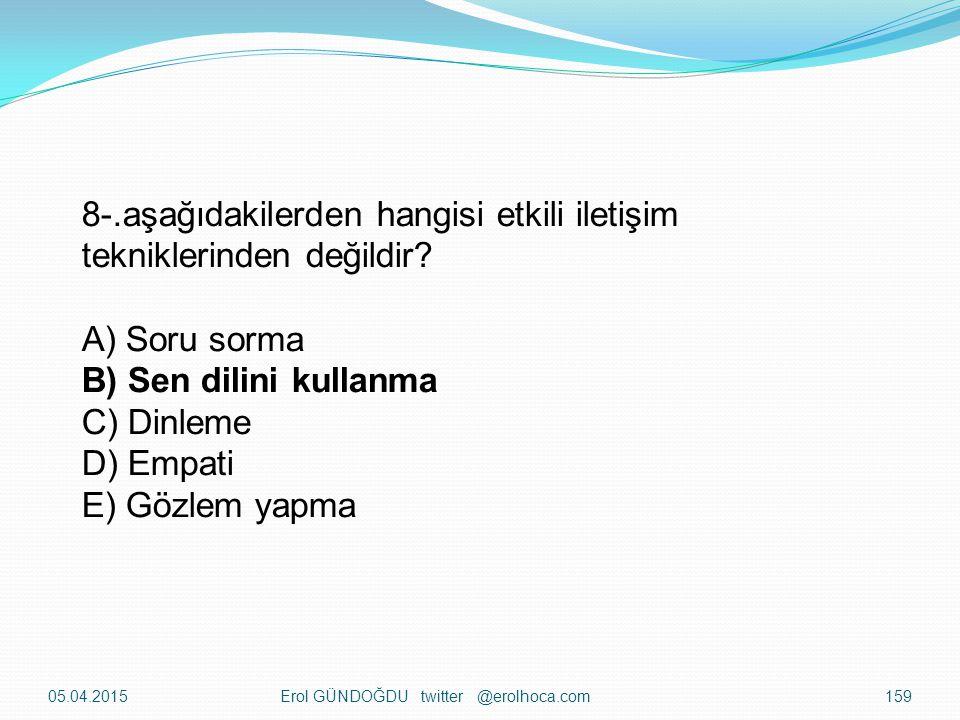 05.04.2015Erol GÜNDOĞDU twitter @erolhoca.com158 7-Alıcının iletiyi aldığı ve değerlendirdiğini göstermek için göndericiye verdiği cevaba ne ad verili